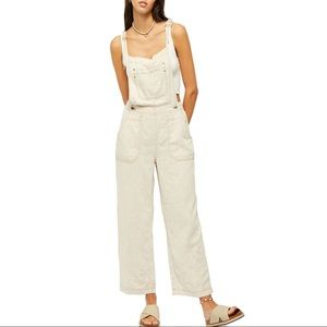 Free People Natural Sights Linen Blend Overalls